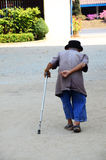 Old man walking at Wat Khua Khrae Temple in Chiang Rai, Thailand. Stock Image