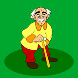 Old man with walkins cane. Vector cartoon or comic character on green background. White gray hair and mustache. Old man with walkins cane. Vector cartoon or Stock Photography