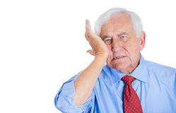 Old man wearing blue shirt with tooth ache Stock Image