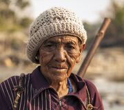 Old Man Wearing Brown Beanie Stock Photography