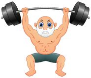 Old man weightlifting Stock Photos