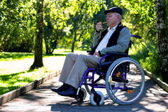 Old man on wheelchair in the park Stock Photo