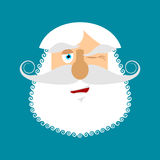 Old man winks Emoji. senior with gray beard face happy emotion i Royalty Free Stock Photos