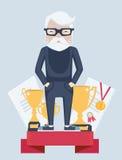 Old man winner in sport vector illustration