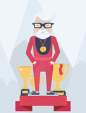 Old man on a winners podium in sport Royalty Free Stock Photography