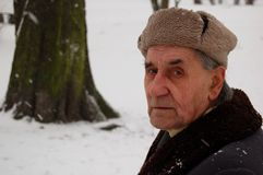 Old man in the winter park. Old man sitting on the bench in the park royalty free stock photography