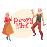 Old man and woman dancing, cartoon invitation, banner, poster design Stock Photo