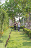 Old man and woman exercise by jogging at the park, they are smile and run on the grass. Royalty Free Stock Photos
