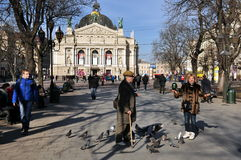 Old man and a woman feeding pigeons, architecture of the city of Lviv. Old man and a woman feeding pigeons, passersby, the architecture of the city of Lviv, the stock photo