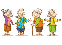 Old man and woman. Funny illustration of old man and woman  in traditional costume cartoon character set.  vector illustration Stock Photography