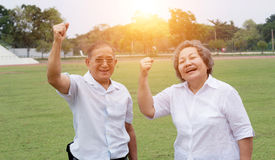 Old man and woman smile Stock Images