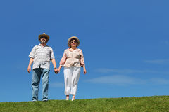 Old man and woman standing on lawn stock image