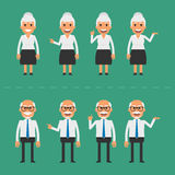 Old man and woman in various poses Royalty Free Stock Images