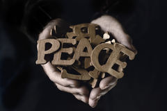 Old man and word peace Stock Images