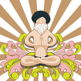 Old man yogi in Padmasana pose Stock Photos