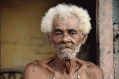 Old man or Young guy in Cuba. A guy in Cuba, Trinidad stock photography
