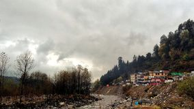 Old Manali. The first glimpse of Old Manali when you get out from the bus royalty free stock image