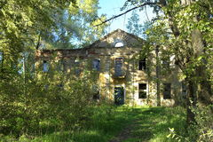The old manor house. Ruins in the forest stock image