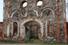 Old manor of the 19th century. Ruins of old manor of the 19th century from red brick Stock Photo