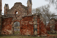 Old manor of the 19th century. Ruins of old manor of the 19th century from red brick Stock Image