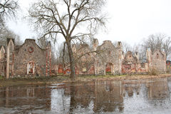Old manor of the 19th century. Ruins of old manor of the 19th century from red brick Stock Photography
