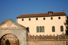 Old mansion with large porch in Casalserugo, in the province of Padova the Veneto (Italy) Royalty Free Stock Photo