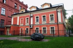 Old mansion in neoclassical style in Likhov Lane, 4, building 2 stock photography
