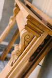 Old mantelpiece, ready to restore. Part of our ongoing renovation project Stock Photography