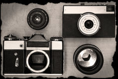 Old manual cameras with lens Royalty Free Stock Photos