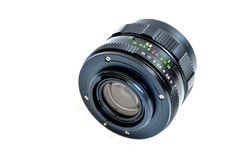 Old manual focus control camera lens. On white background Royalty Free Stock Photo
