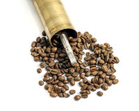 Old manual grinder, coffee mill on white Royalty Free Stock Photo