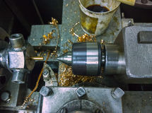 Old manual lathe closeup Royalty Free Stock Photos
