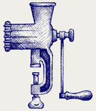 The old manual meat grinder. Doodle style royalty free illustration
