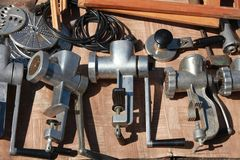 Old manual  meat mincer Stock Images