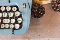 Old Manual Typewriter keys in Thai Language. Stock Photo