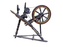 Old manual wooden spinning-wheel distaff isolated on white Royalty Free Stock Photography