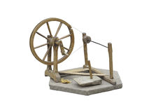 Old manual wooden spinning-wheel distaff isolated on white Royalty Free Stock Images