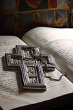 Old manuscript. From 1878 year and icon, with my silver cross. This icon is my drawing product Royalty Free Stock Photos