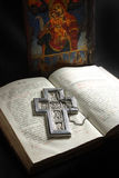 Old manuscript. From 1878 year and icon with my silver cross Stock Image