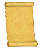 Old manuscript. Blank. Blank. An old roll of parchment. On a white background stock illustration