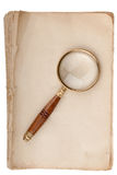 Old manuscript with loupe Stock Photography
