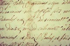 Old  manuscript. Old vintage manuscript writing in cursive Stock Images