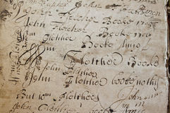 Old manuscript writing. An old manuscript with calligraphic type writings. Great for historical publications, presentations and backdrops Royalty Free Stock Photography