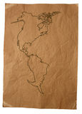 Old map. Old card of America on vintage paper royalty free stock image