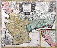 Old map. Of South Sweden from XVIII century Royalty Free Stock Photos