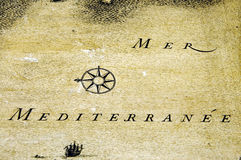 Old map. Detail of an old map of Mediterranean Sea Stock Images
