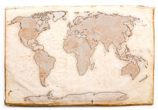 Old map. Antique world map on old yellow paper Stock Photos