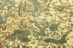 Old map. Old medieval map with villages, rivers and forests Stock Image