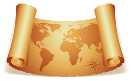Old map. World map on scroll of old paper Stock Photos