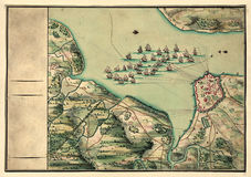 Old map. And Compass Rose stock illustration